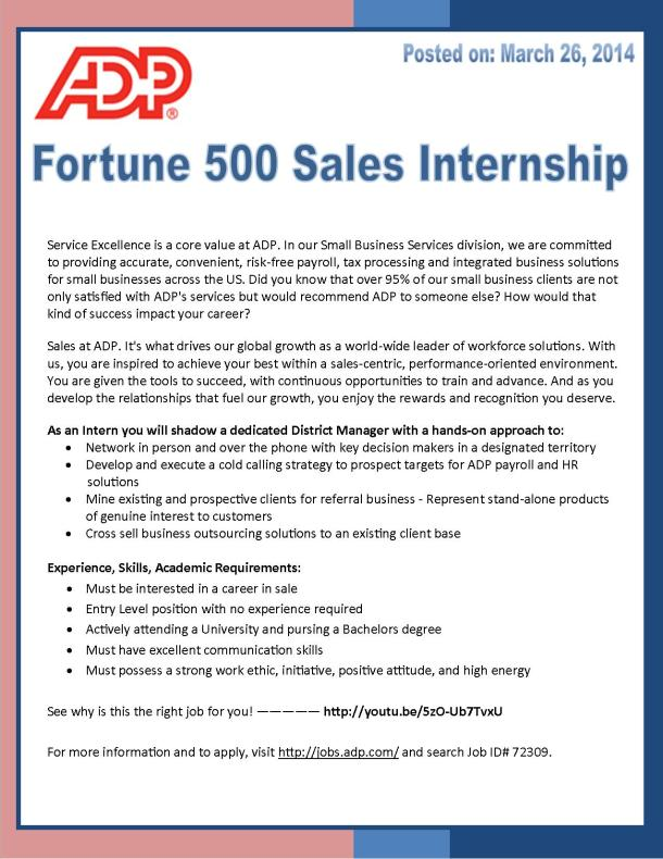 Sales Internship with ADP!