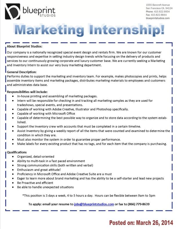 Blueprint Studios: Marketing Internship!