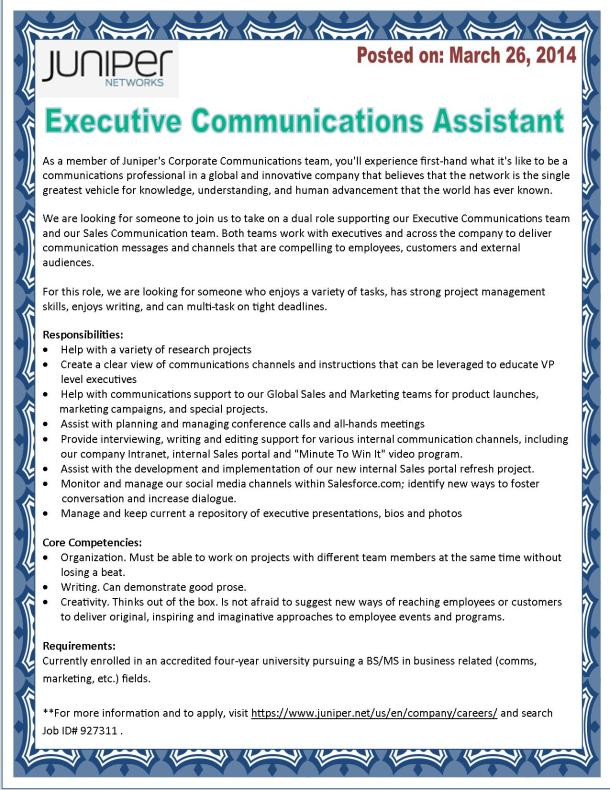 Executive Communications Internship with Juniper Networks!