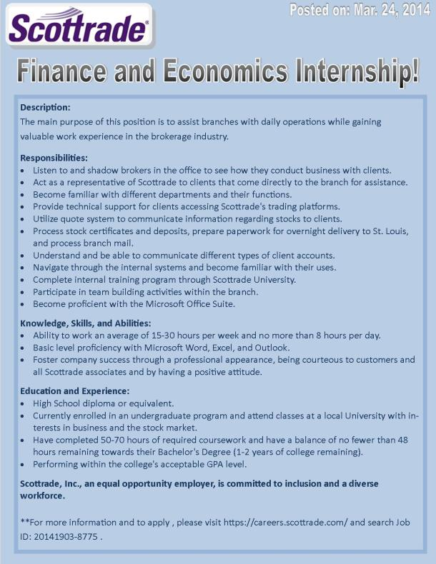 Finance and Economics Internship with Scottrade