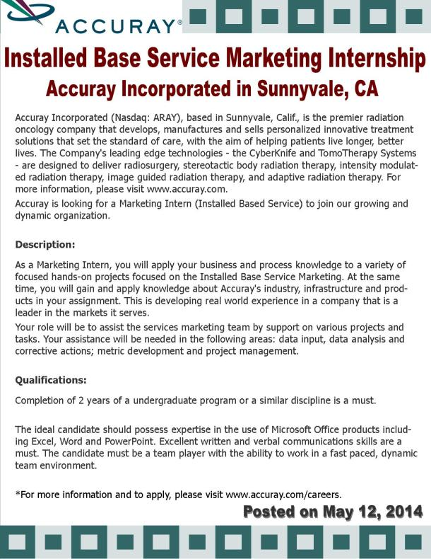 Marketing Internship with Accuray Inc.